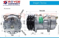 COMPRESSOR 7H15 8 ORELHAS 12V. DESCARGA / SUCÇÃO TRASEIRA O'RING POLIA 2A 132 MM R134A MAQUINA NEW HOLLAND - 600042